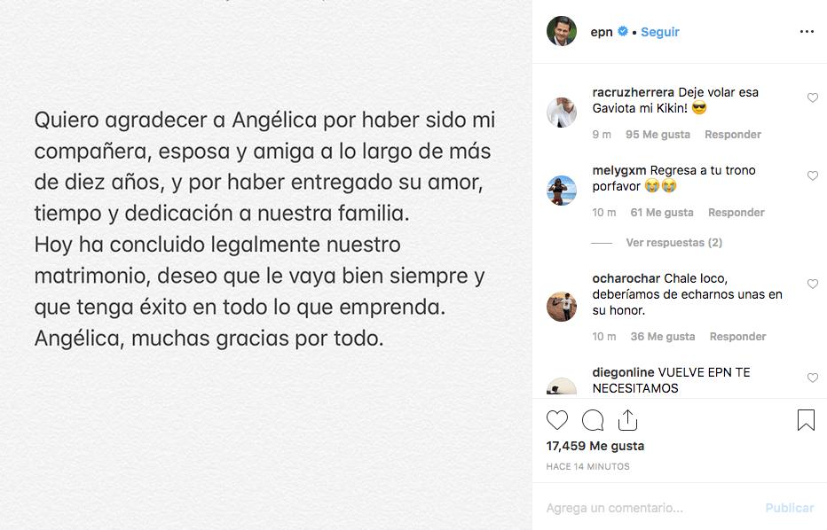 Peña Nieto: oficial divorcio de Angélica Rivera en Instagram