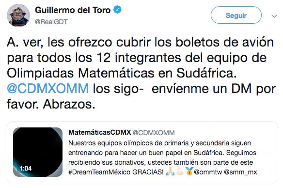 Guillermo del Toro paga viaje a equipo de Olimpadas Matemáticas