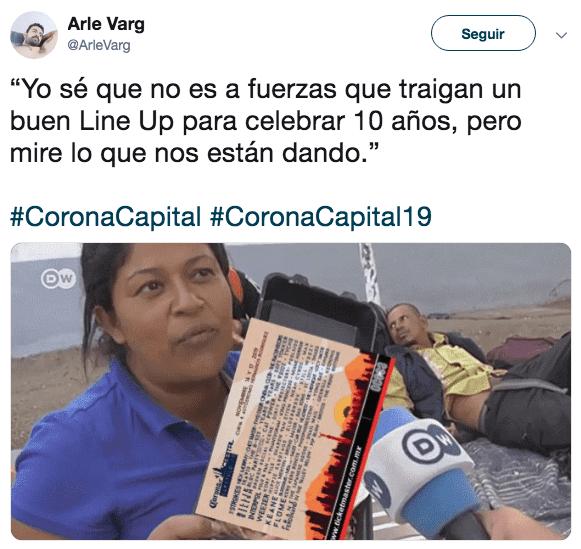 Los memes del cartel del Corona Capital 2019