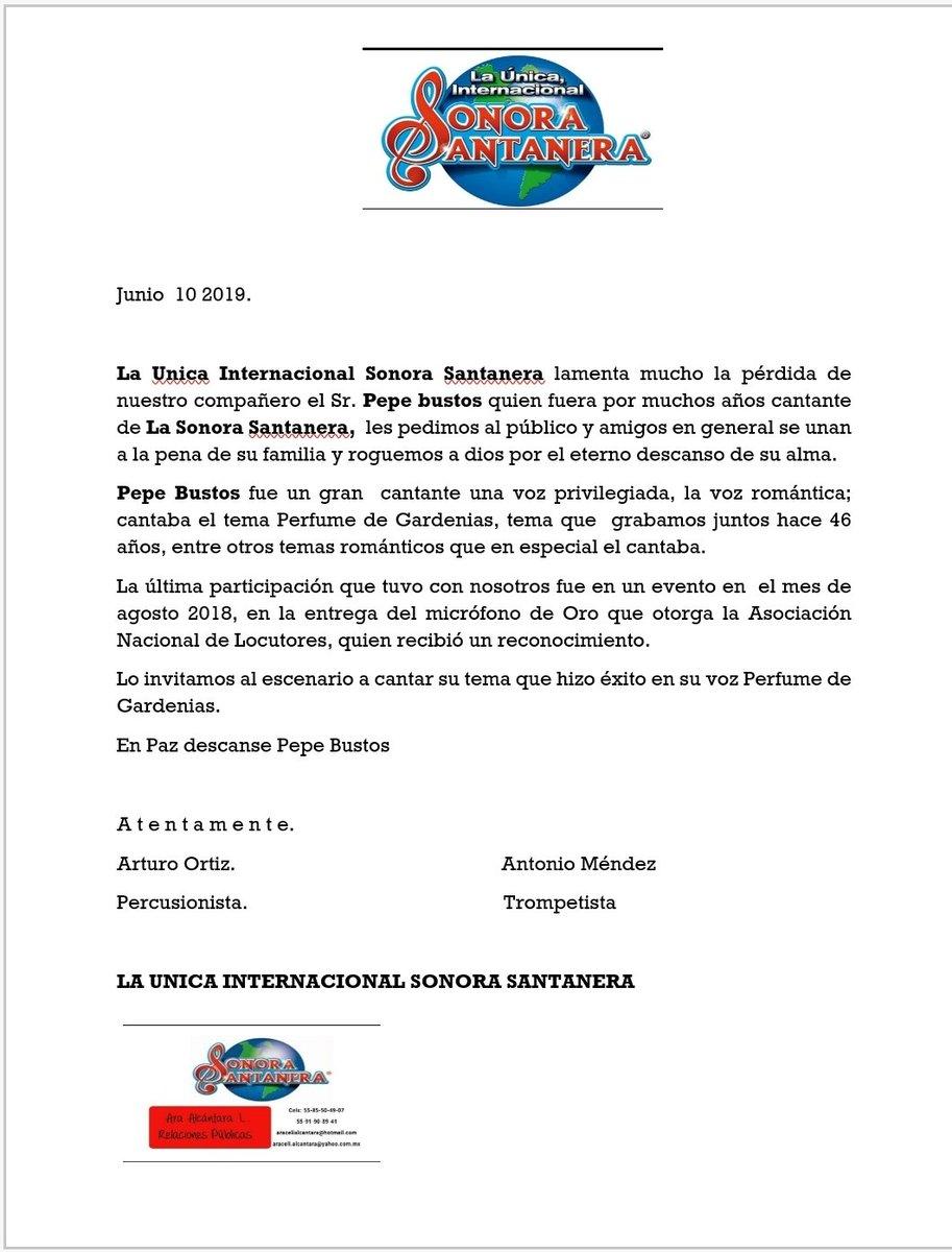 Muere Pepe Bustos ex integrante de La Sonora Santanera