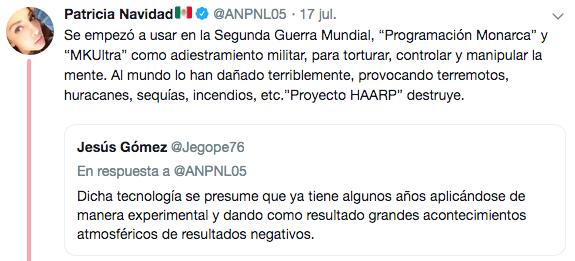 Paty Navidad acusa a HAARP y MK Ultra de problemas en México