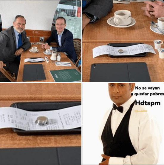 Hacen memes a Ricardo Anaya y Gustavo Madero por dejar mísera propina en un restaurante