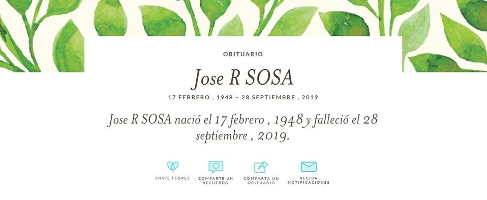 Funeraria publica el obituario de José José