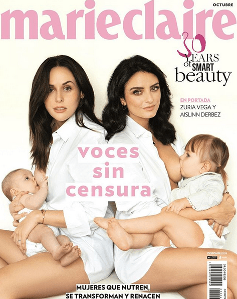 Zuria Vega y Aislinn Derbez amamantan portada Marie Claire