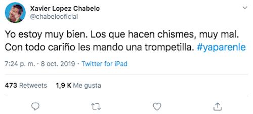 Foto Chabelo Twitter 8 Octubre 2019
