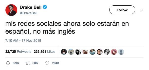 Drake Bell solo usará español en sus redes sociales