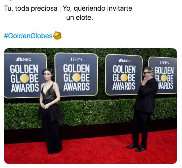 Meme Rooney Mara y Joaquín Phoenix en los globos de oro 2020