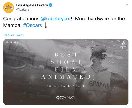 El oscar que ganó Kobe Bryant