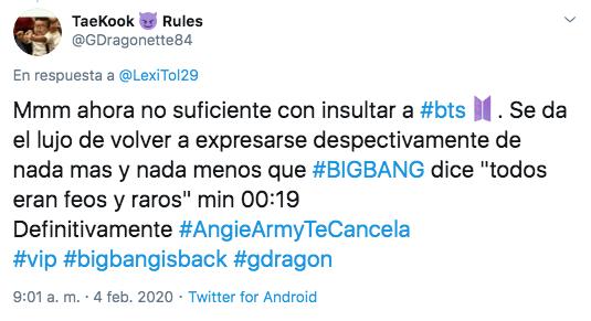 Angie de La Academia se burla de BTS y ARMY la cancela