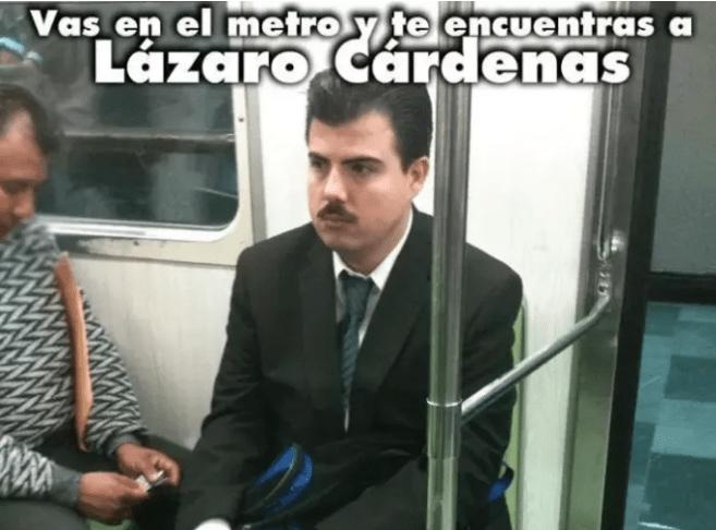 meme de lazaro cárdenas en el metro de la cdmx
