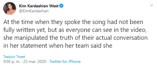 Kim Kardashian responde a Taylor Swift y la llama mentirosa
