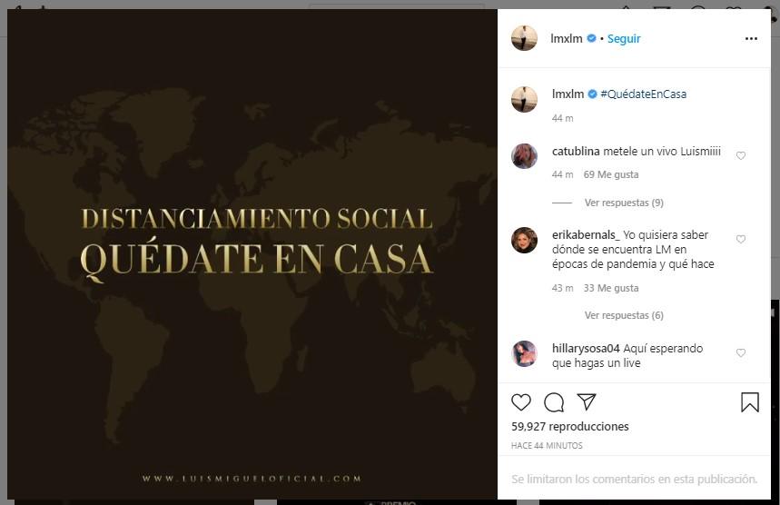 Luis Miguel reaparece en redes sociales y manda mensaje sobre el Coronavirus