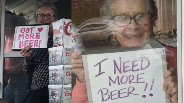 Olive Veronesi recibe 150 latas de cerveza para cuarentena