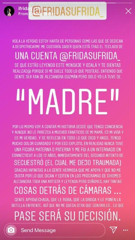 Frida Sofía asegura que a Alejandra Guzman la drogan y le roban