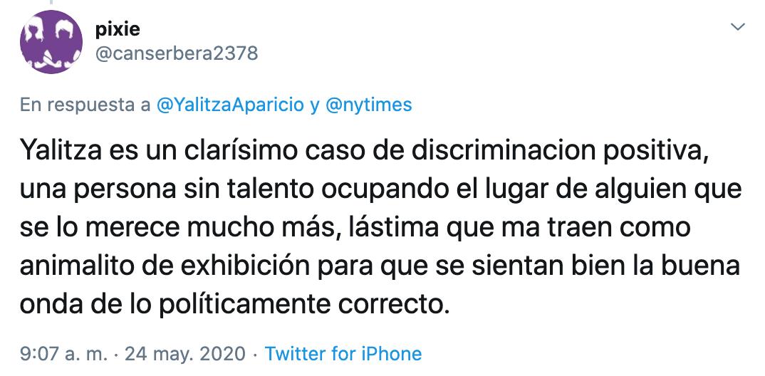 Critican a Yalitza Aparicio tras publicar articulo en The New York Times