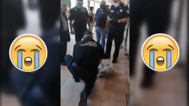 Policías le compran todo a un abuelito para que no se contagie de covid-19