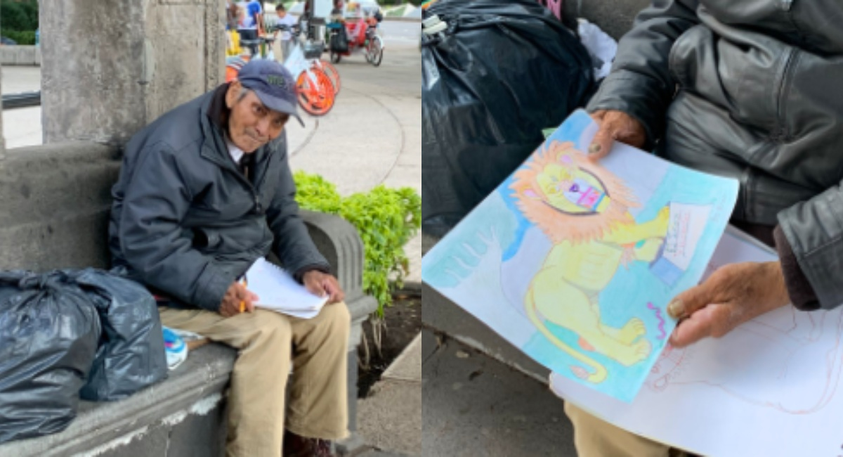 Don Baldemar vende dibujos para sobrevivir a la pandemia