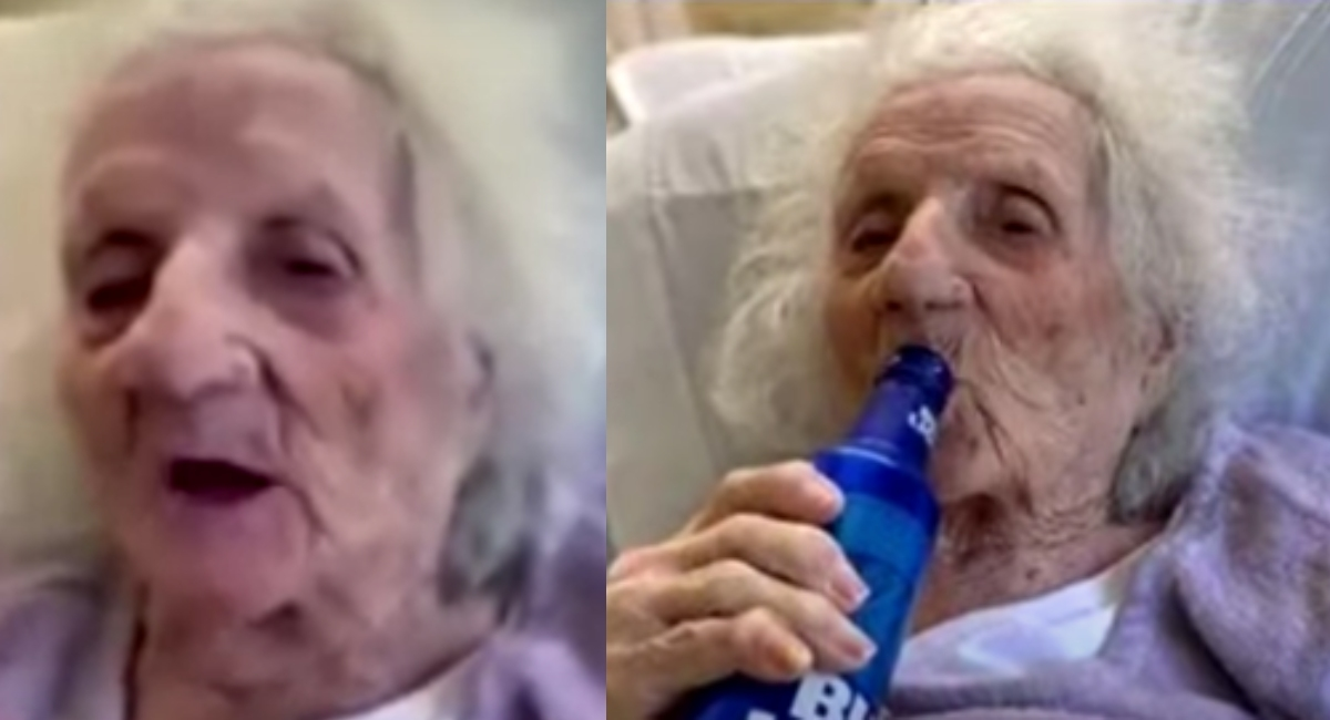 Abuela de 103 años superó covid 19 celebra con cerveza