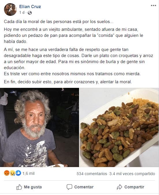 Abuelito en situación de calle pide comida y le regalan arroz con croquetas para perro