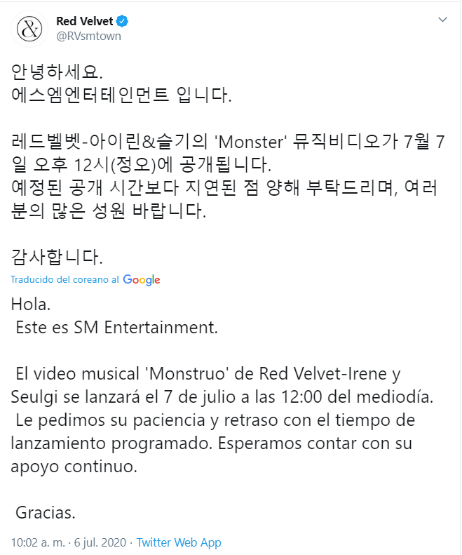 """SM Entertainment retrasa el MV de Irene y Seulgi por tener """"escenas sexuaIes"""""""