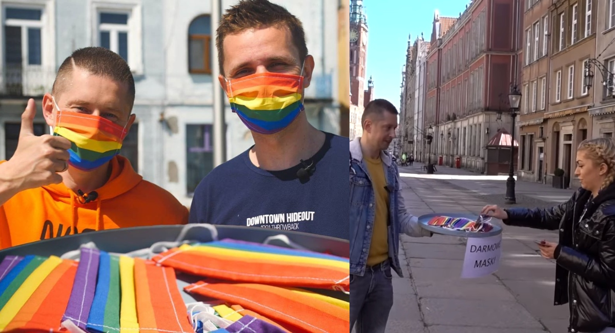 Pareja regala cubrebocas LGBT para difundir la tolerancia