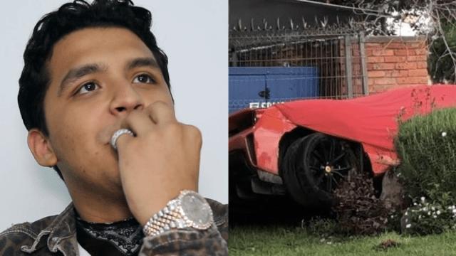 Lágrimas de Belinda: Christian Nodal sufre aparatoso accidente en su Ferrari