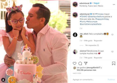 Edwin Luna en el cumpleaños de su hija Dasha