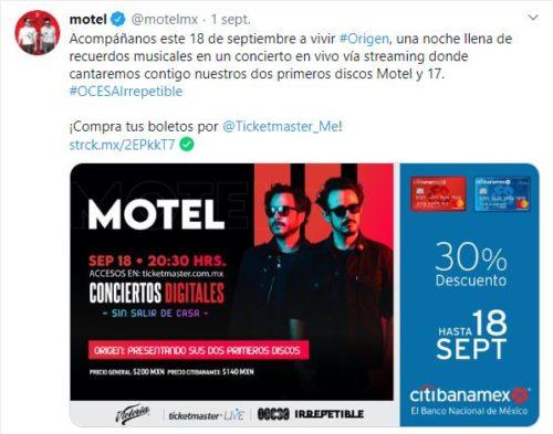 Motel precios concierto en línea