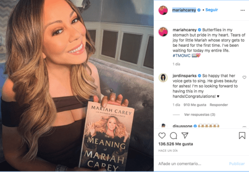 Mariah Carey presenta su libro en instagram