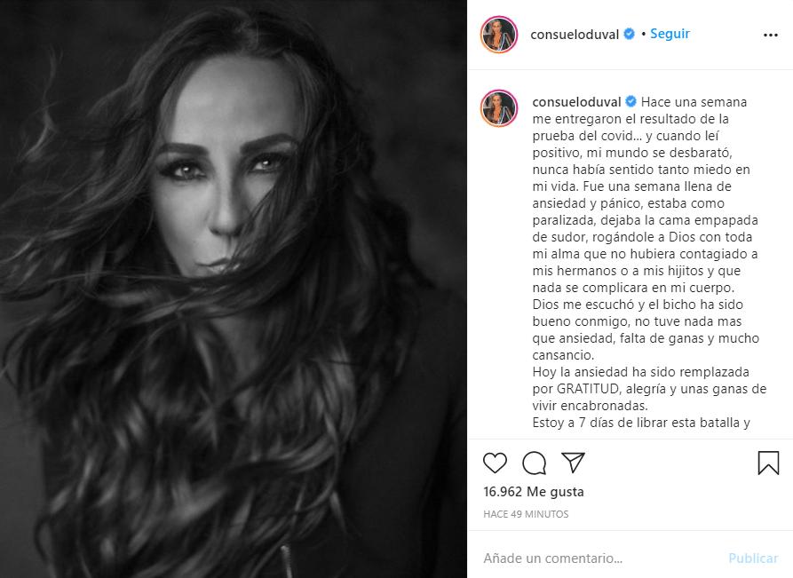 Consuelo Duval confirma que tiene Covid-19 tras varios días con síntomas