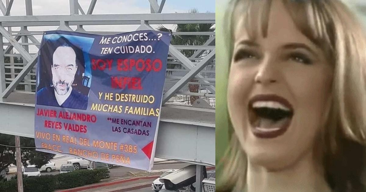 Exponen a esposo infiel con una manta colgada en puente de Saltillo
