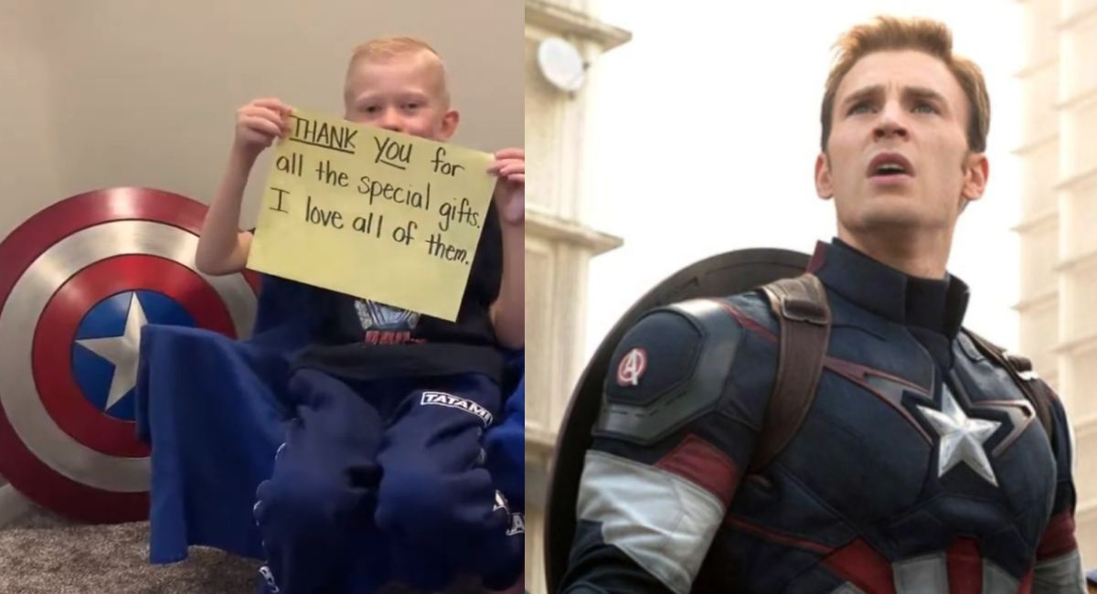 Niño que salvó a su hermana de un perro reaparece con escudo del Capitán América