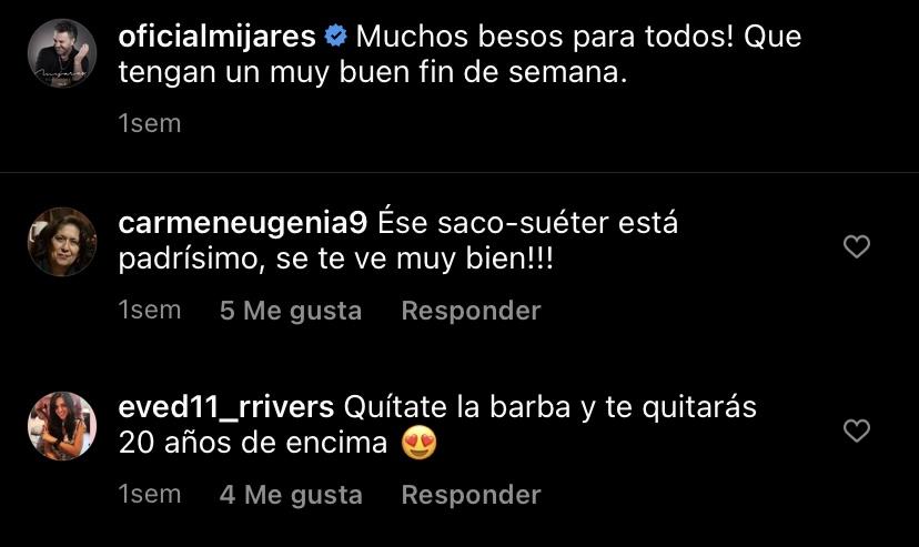Fan le comenta a Manuel Mijares en instagram