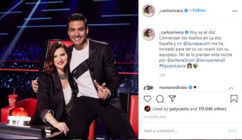Carlos Rivera con Laura Pausini en instagram
