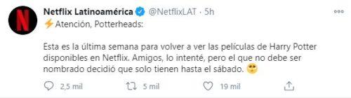 Tuit de Netflix harry potter