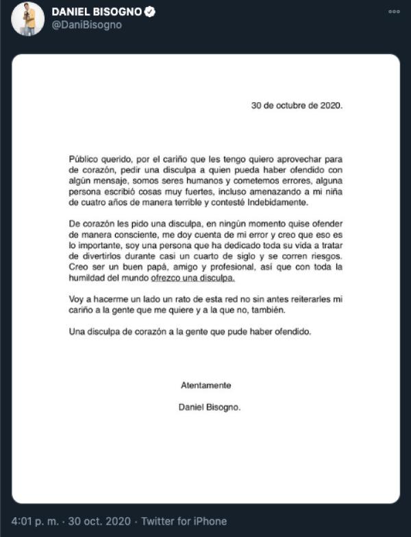 Daniel Bisogno anuncia su retiro tras haber sido insultado por polémicas