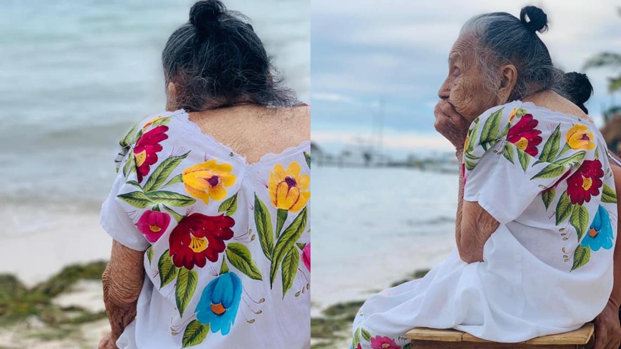 Abuela conoce el mar por primera vez
