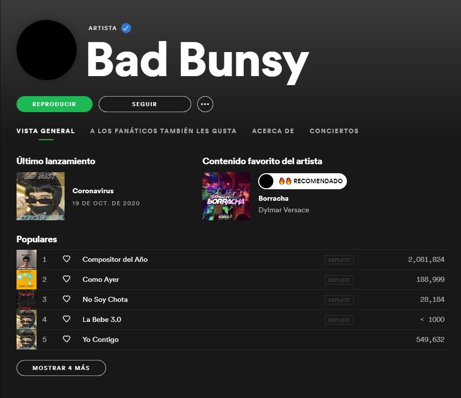 El perfil de Spotify de Bad Bunsy es de Bad Bunny y son sus canciones