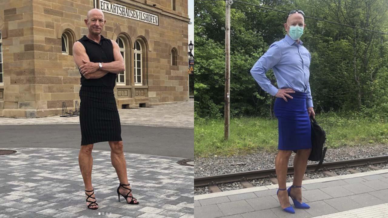 Hombre en Alemania rompe con estereotipos y sale en falda y tacones a trabajar