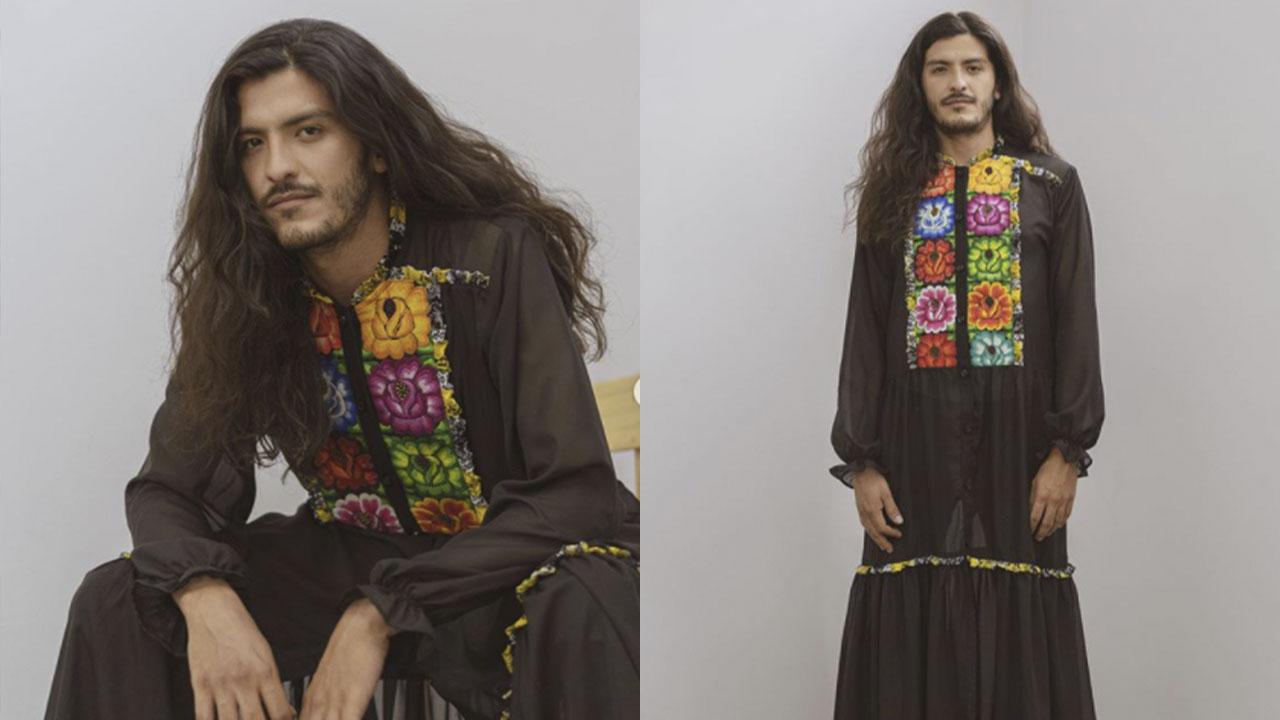 Crean vestido oaxaqueño con bordados indígenas para hombres