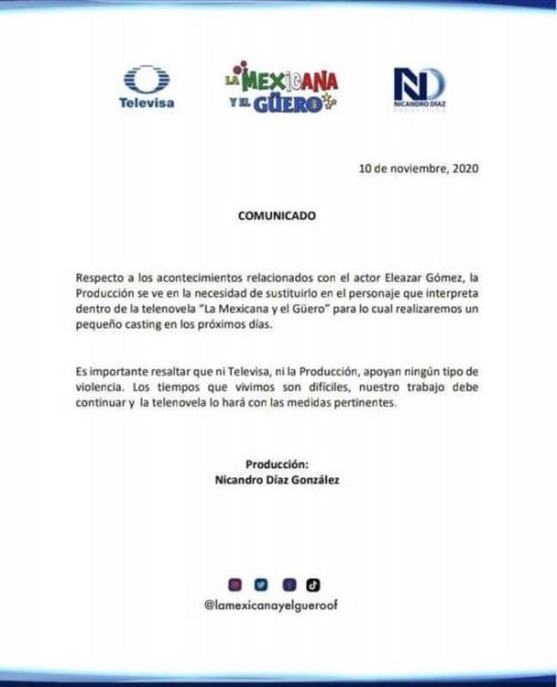 Comunicado salida Eleazar Gómez