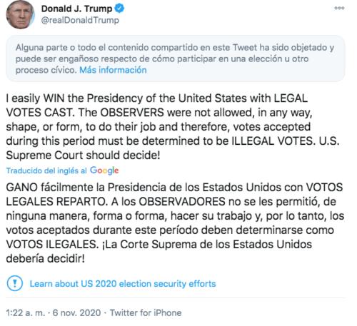 Tuit engañoso de Donald Trump