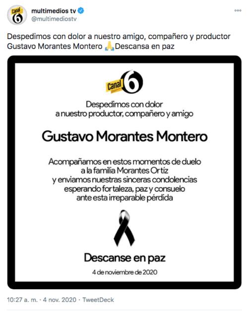 Tuit Multimedios muerte Gustavo Morantes