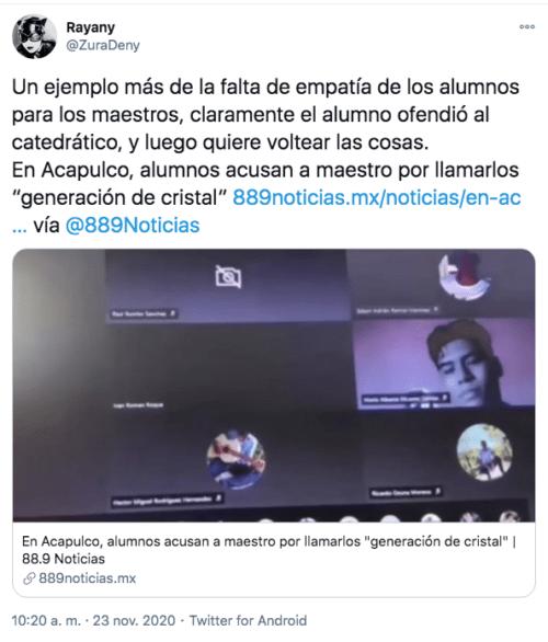 Tuit contra el maestro de acapulco
