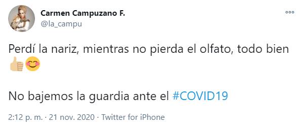 Carmen Campuzano se burla de su nariz y la Covid