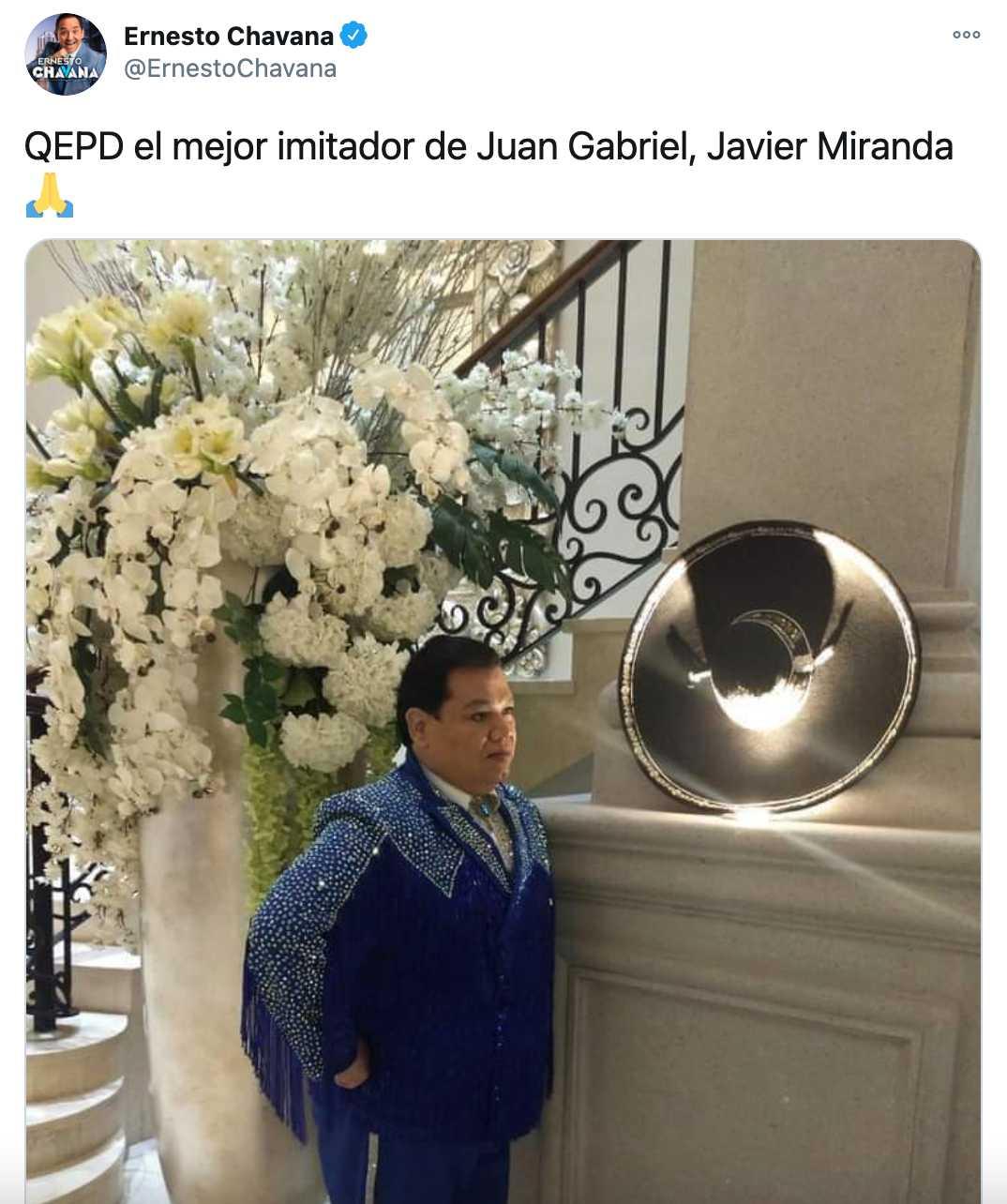 Javier Miranda, imitador de Juan Gabriel, fallece por Covid 19