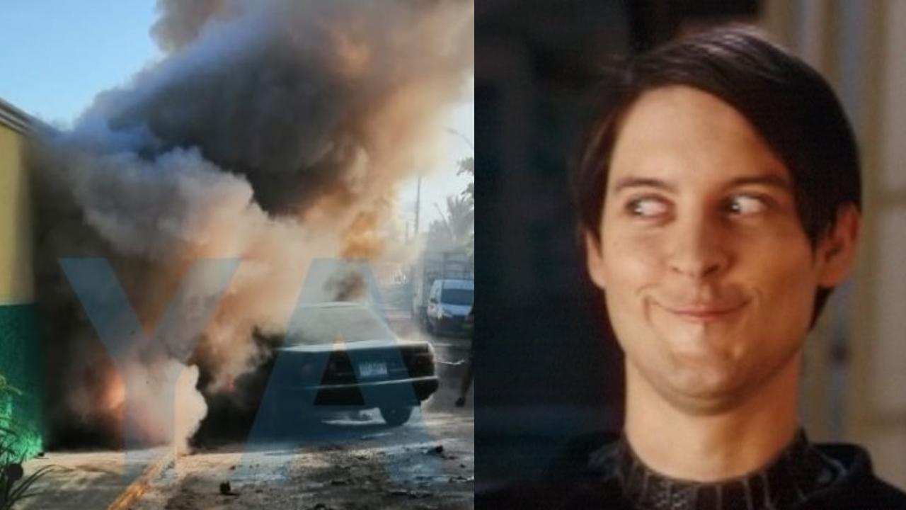 Incendio auto en un motel