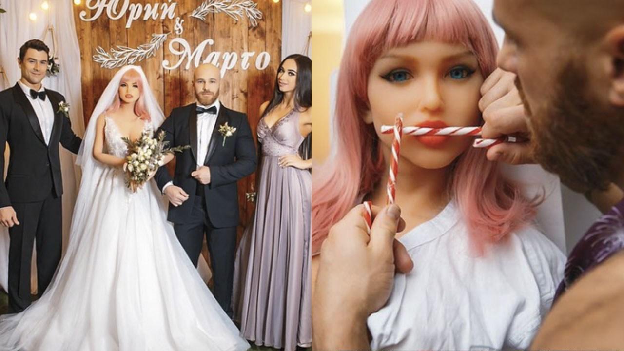Fisicoculturista se casa con muñeca inflable