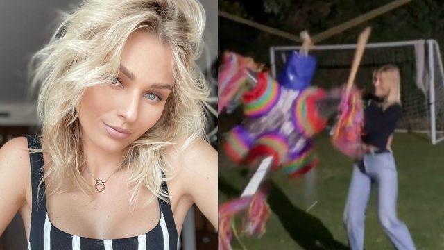 Irina Baeva se emociona al romper una piñata por primera vez; no perdió el tino