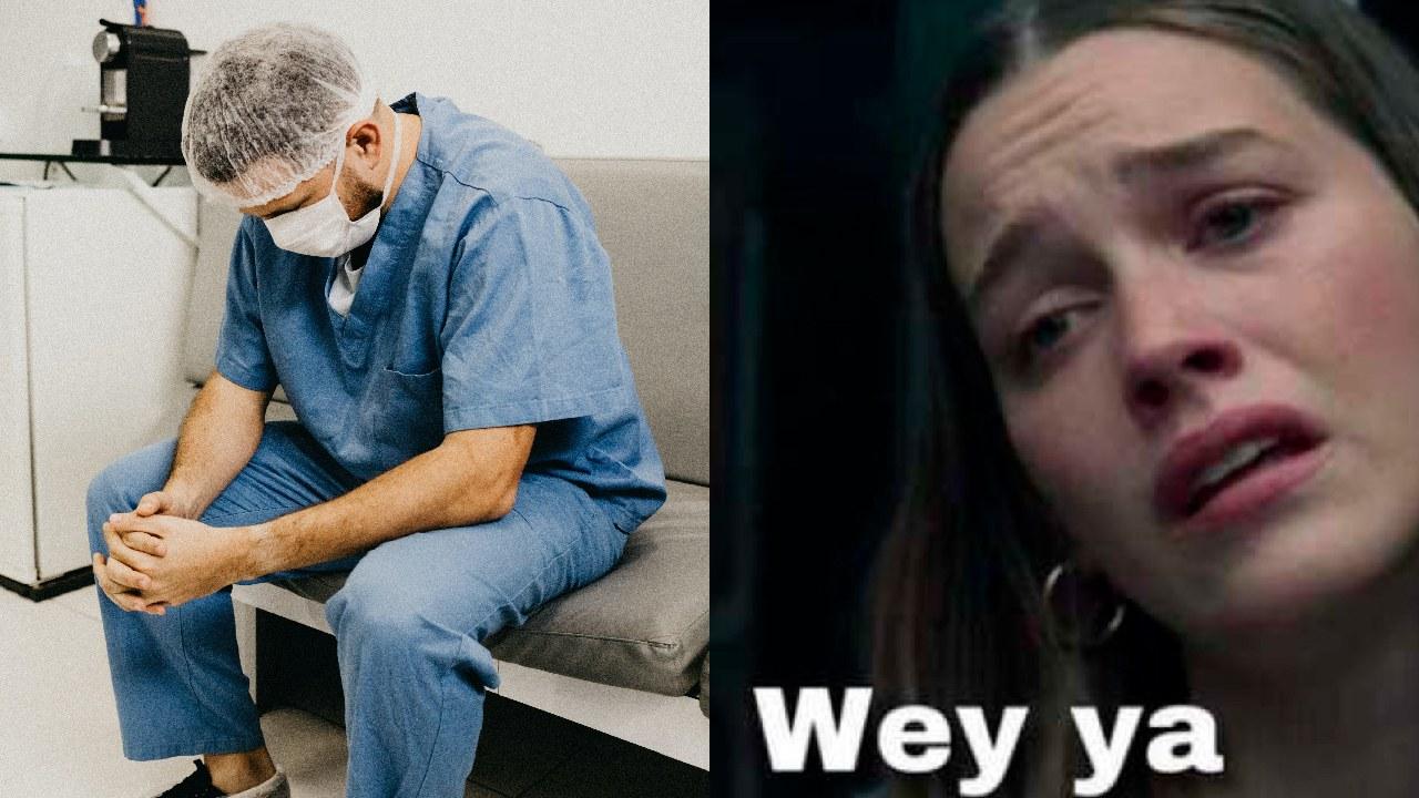 Doctor frustrado y meme wey ya por renuncia de trabajo en pandemia